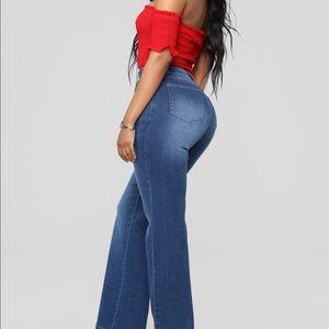 Fashion Nova Jeans - Blue Wash Boot Cut Jeans, Adjustable Chain